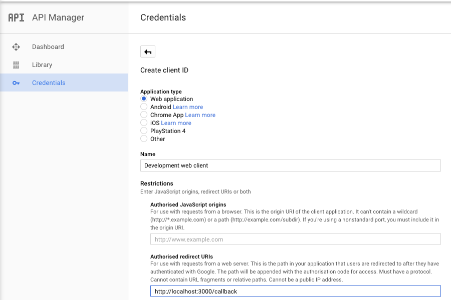 Screenshot: creating client credentials