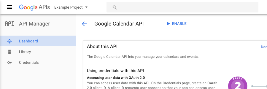 Screenshot: enabling the Google Calendar API