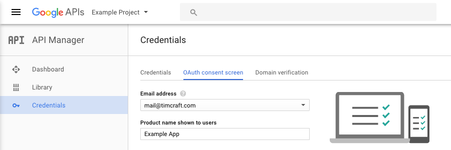 Screenshot: configuring the OAuth consent screen